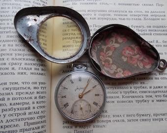 Pocket watches in metal box. Pocket watch with a case. Soviet pocket watch. Pocket watch USSR. Vintage watch. Molnija.