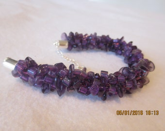 0031 Amethyst Chip Bracelet With Amethyst Petal Beads & Swarovski Crystals