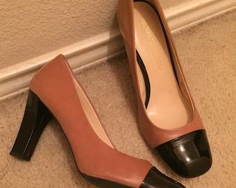 Cap toe, leather franco sarto pumps