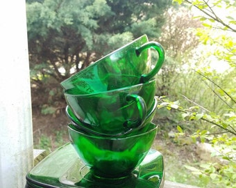 Emerald Green Vintage Tea Cups and Saucers
