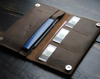Handmade leather wallet, handstitched leather wallet with passport holder, travel wallet, passport wallet, leather organiser, bifold wallet