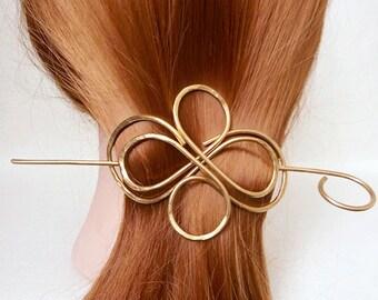 Gold Hair Barrettes Hair Jewelry Hair Accessory Thick Hair Clip Hair Stick Brass Hair Slide Wedding Hair Barette Womens Accessories Hair Pin