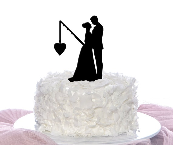 Couple Fishing Cake Topper Wedding Cake Topper Personalized