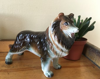 Vintage 1950s Ceramic Collie Figurine Collectable Mid Century Dog Figure