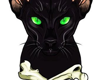 Black Oriental Cat Giclee Print