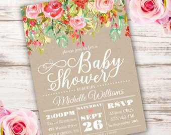 Whimsical Girl Baby Shower Invitation, girl baby shower invite, baby shower, floral baby shower, watercolor, Edit yourself with Adobe Reader