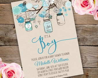 Mason Jars Baby Shower Invitation, Boy baby shower invite, baby shower, floral baby shower, watercolor baby shower invitation