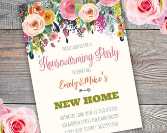 Housewarming party Invitation, new home invite, housewarming, floral housewarming, watercolor Edit yourself with adobe reader