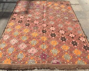 Pink kilim rug, vintage rug, turkish kilim rug, area rug, colorful rug, pink rug 8 x 5 ft