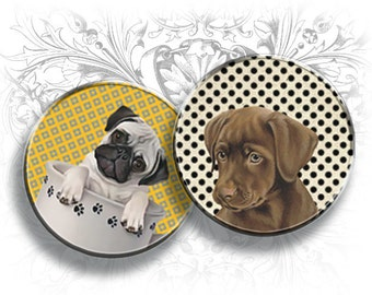 Puppies 1 Inch Circles Digital Collage Sheet Printable Download Bottle Cap Images