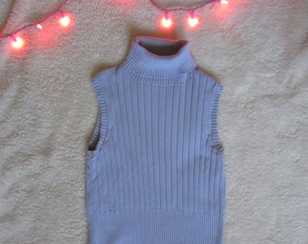 90's sleeveless baby blue turtleneck