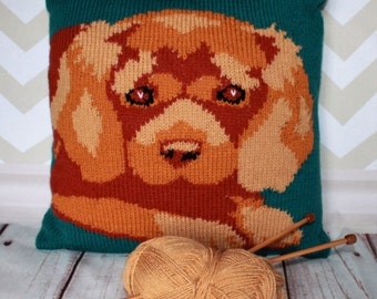 Knitting Pattern PDF Download - Ruby Cavalier King Charles Spaniel Pet Portrait Pillow Cushion Cover