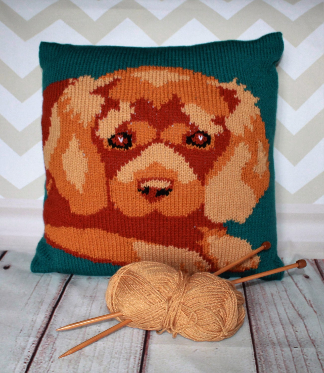 Knitting Pattern PDF Download - Ruby Cavalier King Charles Spaniel Pet Portra...