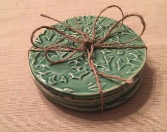 Handmade Coasters, Pottery Coasters, Handbuilt Coasters, 4 Coaster Set, Slab Pottery Coasters