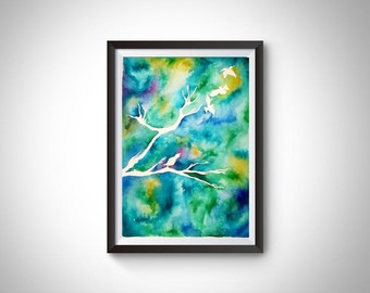 Customisable Birds on tree branch ink painting illustration