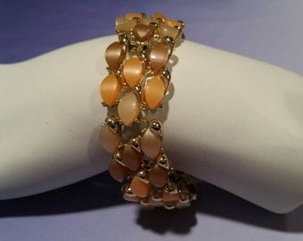 Lucite Link Bracelet Earth Tones Orange Brown Vintage  (GB118)