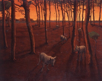 Red Forest Wolves - oil painting