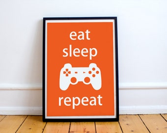 Video Game Poster Print - 'Eat Sleep Play Repeat'
