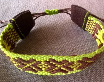 Woven patterned cotton bracelet