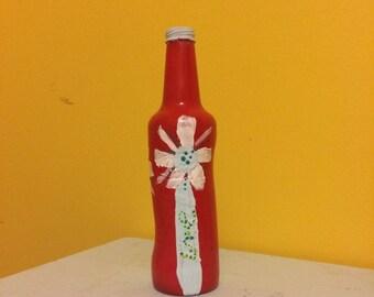 Hand painted bottle Simple flower vase