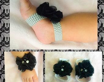 Chevron Baby Ribbon Sandals + Headband; CHOOSE YOUR COLORS
