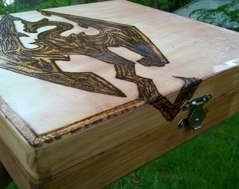 Skyrim Pyrographed Box W/ Tea