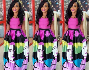 Trendy Faceprint purple multicolored maxi skirt