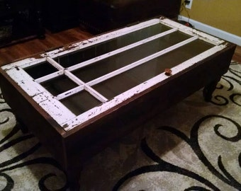 Coffee table made from up-cycled reclaimed doors