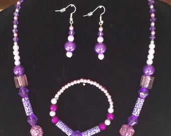 Acrylic Purple/Pink Beaded Jewelry Set