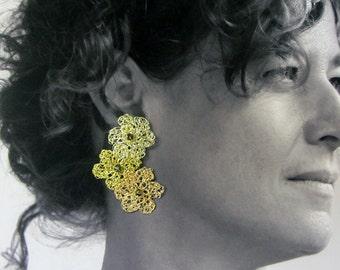 Earrings Sanremo-Tre Fiori, crocheted copper wire processing