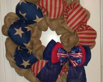 4th of July Burlap Wreath Patriotic Burlap Wreath