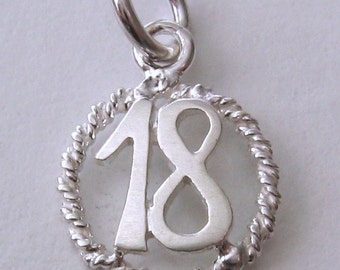 Genuine SOLID 925 STERLING SILVER 18 th birthday charm pendant