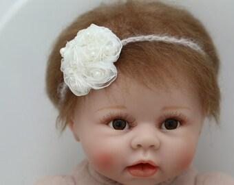Newborn Photo Prop, Newborn Headband, Hair Rosettes, Tie-back, Delicate Headband, Baby Headband, Hair Accessory