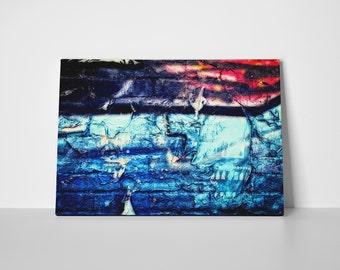 Abstract Canvas Art - Blue Canvas Print -  Graffiti Wall Canvas Print - Street Photography Canvas Print - Modern Wall Art