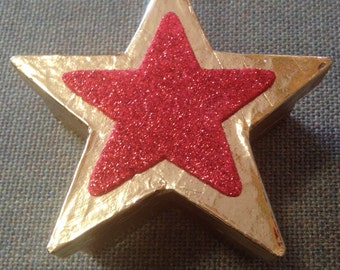 Hand Decorated Small Gold Star Trinket Box