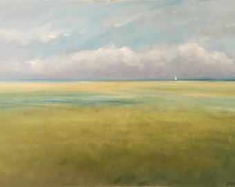 Marsh And Clouds Study, With Distant Sailboat