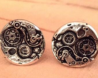 Metal Steampunk, Mechanical Cufflinks, Cuff links, Gears