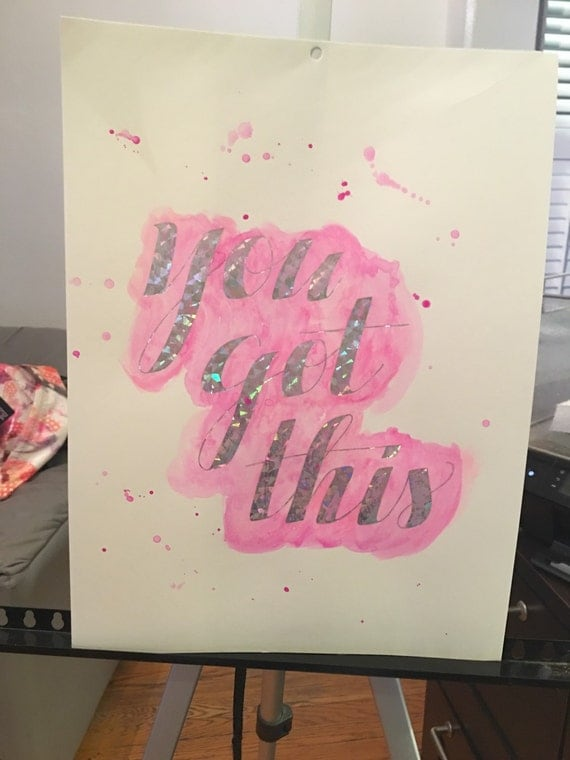 """Watercolor Pink Girls Room Decor  Teen Room """"You got this"""" Silver Foil Quote with Handpainted Watercolor 11x14"""