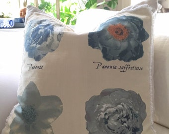 Pillow Cover, Richloom Osiris, Floral Patch on Natural Hopsack Linen