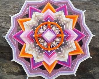 Tenderness of Sunset Mandala Ojo de Dios11 inches, Boho Wall hanging, Yarn Mandala, Bohemian Room Decor