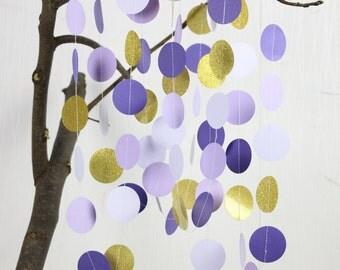 Purple Paper Garland - Ombre Purple - Lavender -Glitter Gold - Purple Backdrop - Purple Nursery Decor - Wedding Decorations