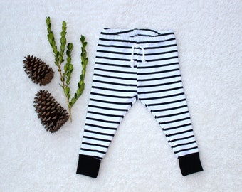 Black + White Striped Baby + Toddler Leggings