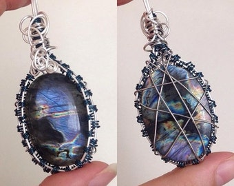 Stunning mystic purple labradorite wire wrapped pendant