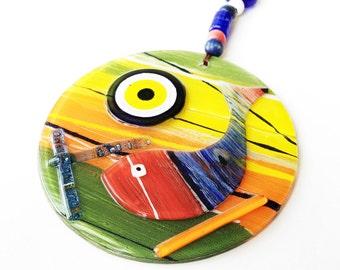 Evil eye wall hanging, mosaic wall art, fish evil eye ornament, lampwork turkish evil eye, fish wall hanging, evil eye decor, evil eye nazar