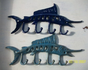 Sailfin Hook/ Cast Iron/ Nautical decor/ Beach decor/ blue marlin