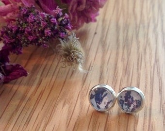Blue earrings, glass dome earrings, small studs, floral earrings, gift for her, flower jewellery, country chic, dome earrings, silver studs