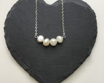 Pearl Curved Bar Necklace