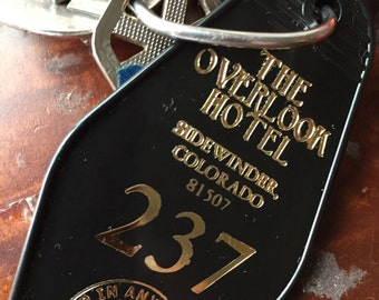 On Sale! The Shining inspired OVERLOOK HOTEL Black Gold  237 keytag
