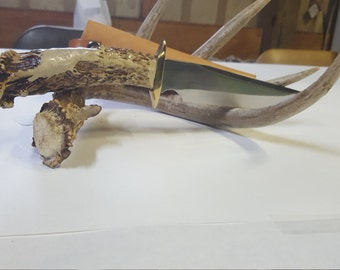 Handmade deer Antler Knife 7 3/4 inch blade with sheat