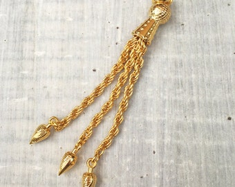 SUMMER SALE 1 pc Gold Plated Tassel Pendant , Gold tassel